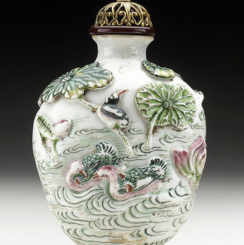 Snuff Bottle (Biyanhu) with Lotus and Water Birds LACMA M.69.91.11a-b (1 of two)